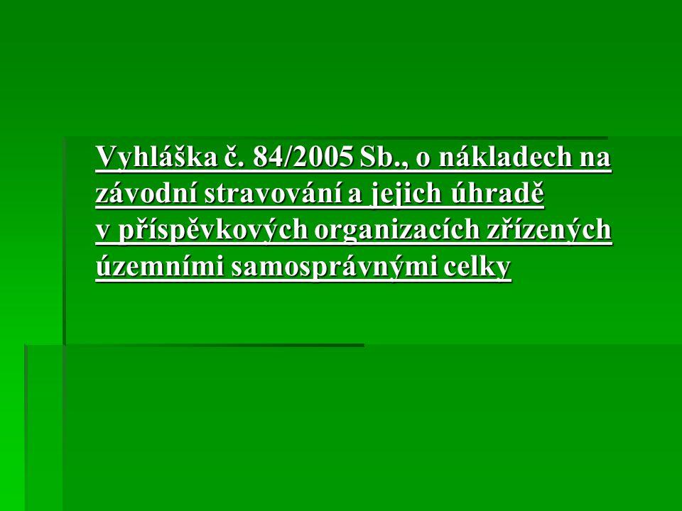 Vyhláška č. 84/2005 Sb., o nákladech na závodní stravování a jejich úhradě v příspěvkových organizacích zřízených územními samosprávnými celky