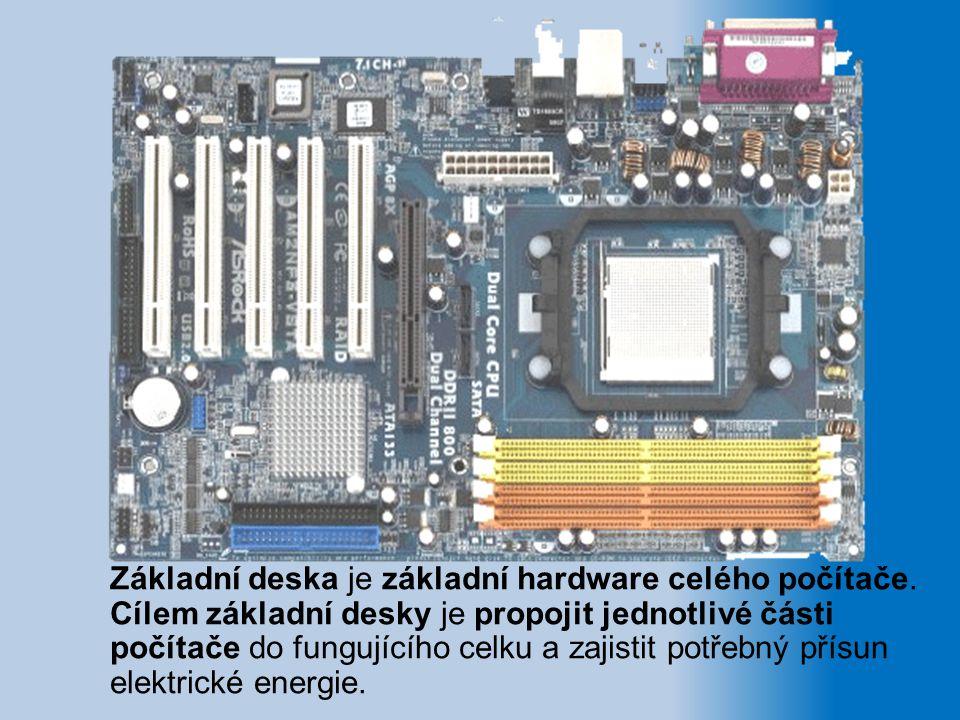 Základní deska je základní hardware celého počítače. Cílem základní desky je propojit jednotlivé části počítače do fungujícího celku a zajistit potřeb