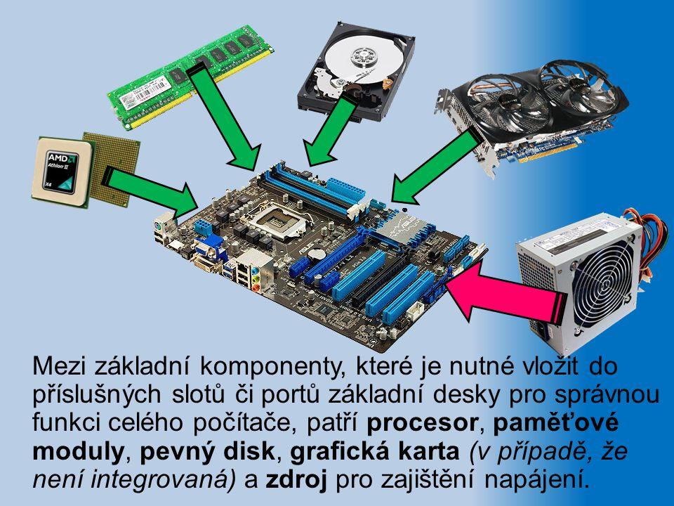 Mezi základní komponenty, které je nutné vložit do příslušných slotů či portů základní desky pro správnou funkci celého počítače, patří procesor, pamě
