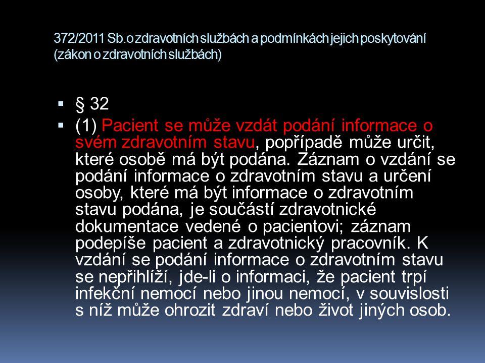 372/2011 Sb.o zdravotních službách a podmínkách jejich poskytování (zákon o zdravotních službách)  § 32  (1) Pacient se může vzdát podání informace