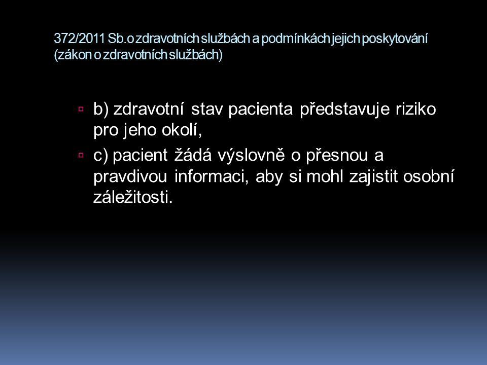372/2011 Sb.o zdravotních službách a podmínkách jejich poskytování (zákon o zdravotních službách)  b) zdravotní stav pacienta představuje riziko pro