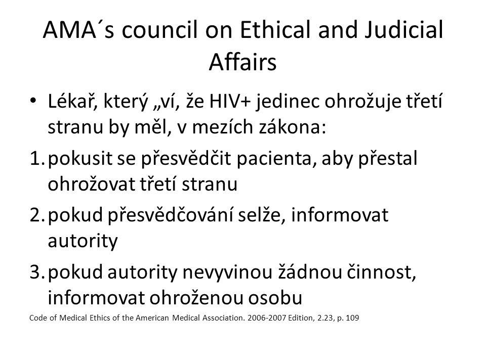 """AMA´s council on Ethical and Judicial Affairs Lékař, který """"ví, že HIV+ jedinec ohrožuje třetí stranu by měl, v mezích zákona: 1.pokusit se přesvědčit"""
