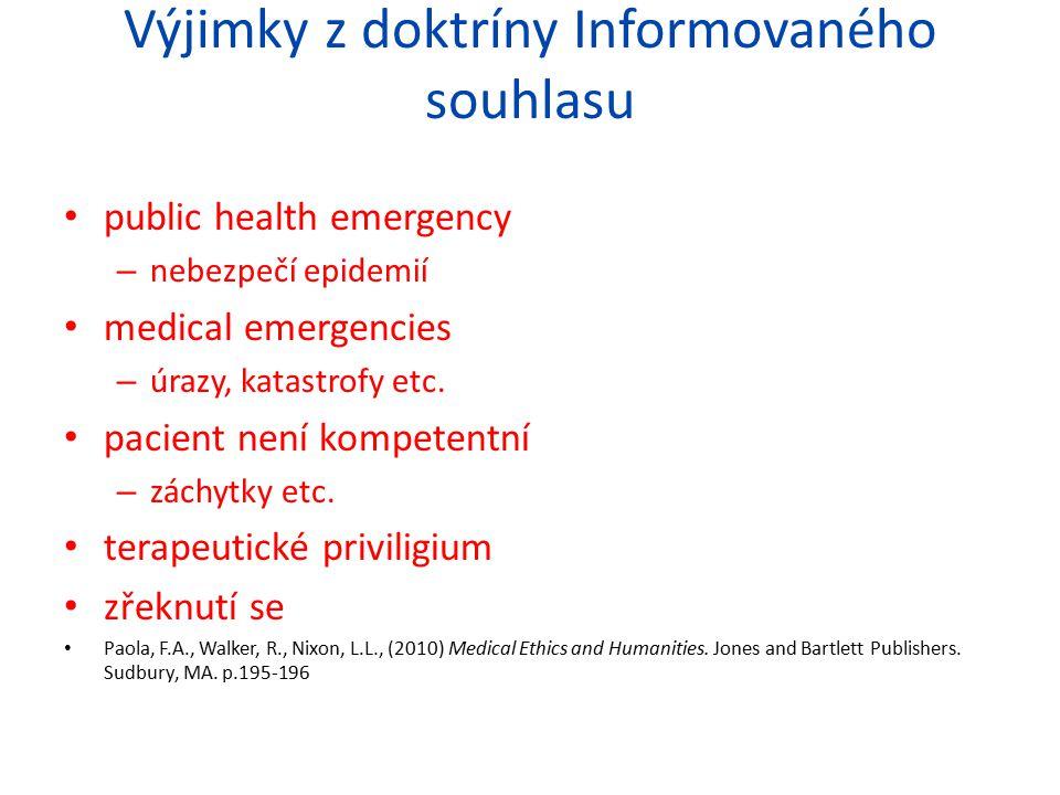 Výjimky z doktríny Informovaného souhlasu public health emergency – nebezpečí epidemií medical emergencies – úrazy, katastrofy etc. pacient není kompe