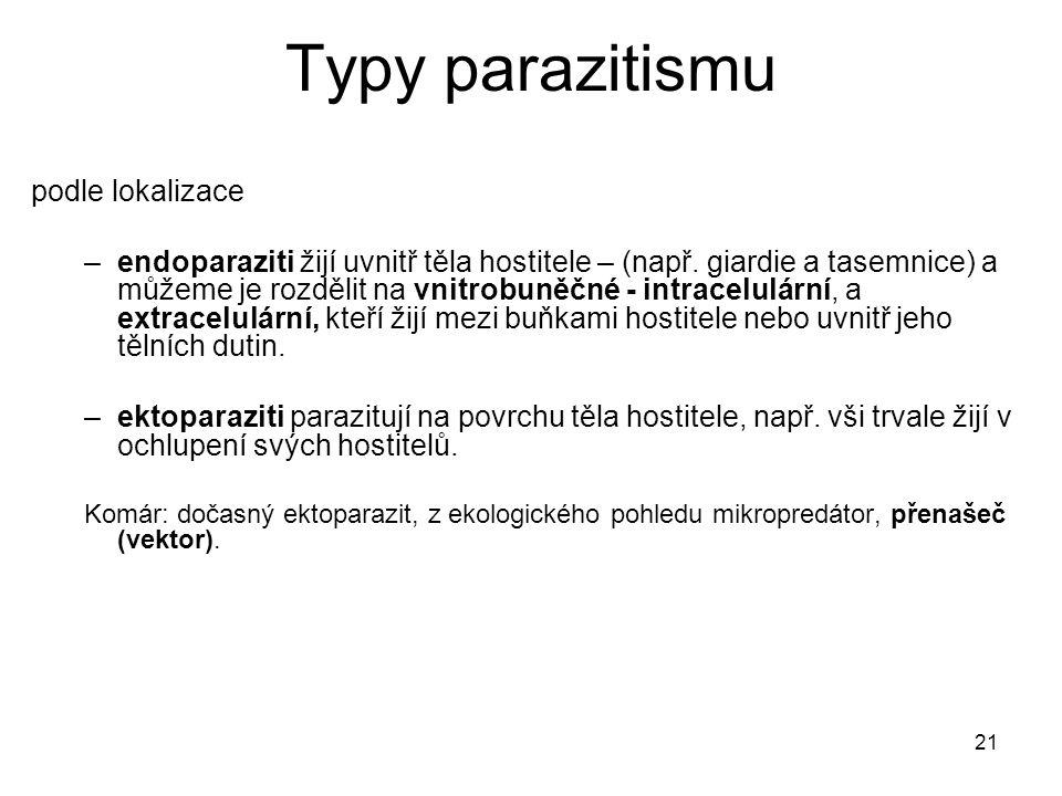 21 Typy parazitismu podle lokalizace –endoparaziti žijí uvnitř těla hostitele – (např.