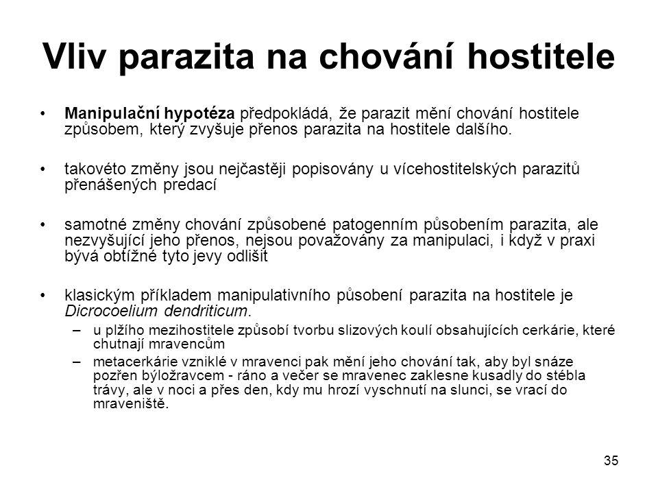 35 Vliv parazita na chování hostitele Manipulační hypotéza předpokládá, že parazit mění chování hostitele způsobem, který zvyšuje přenos parazita na hostitele dalšího.