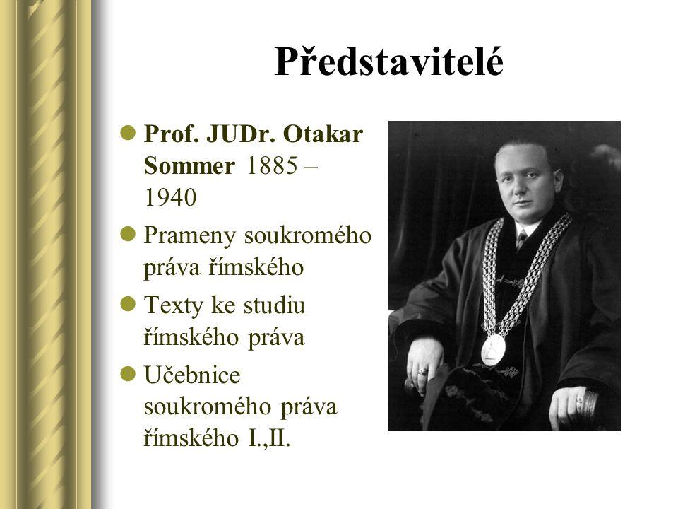 Představitelé Prof. JUDr. Otakar Sommer 1885 – 1940 Prameny soukromého práva římského Texty ke studiu římského práva Učebnice soukromého práva římskéh