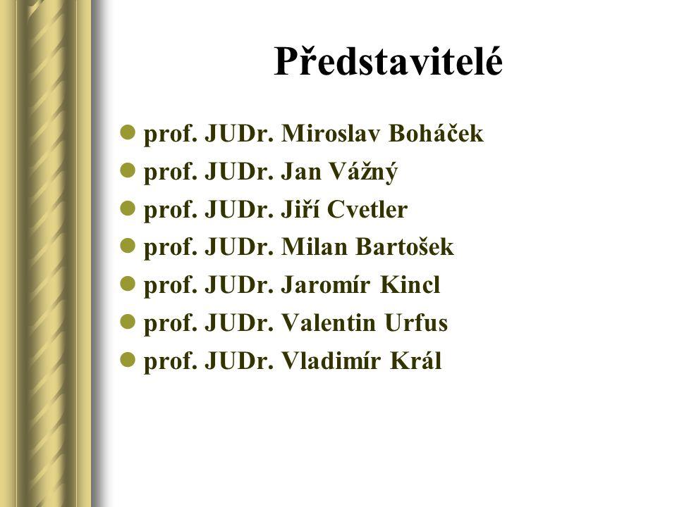 Představitelé prof. JUDr. Miroslav Boháček prof. JUDr. Jan Vážný prof. JUDr. Jiří Cvetler prof. JUDr. Milan Bartošek prof. JUDr. Jaromír Kincl prof. J