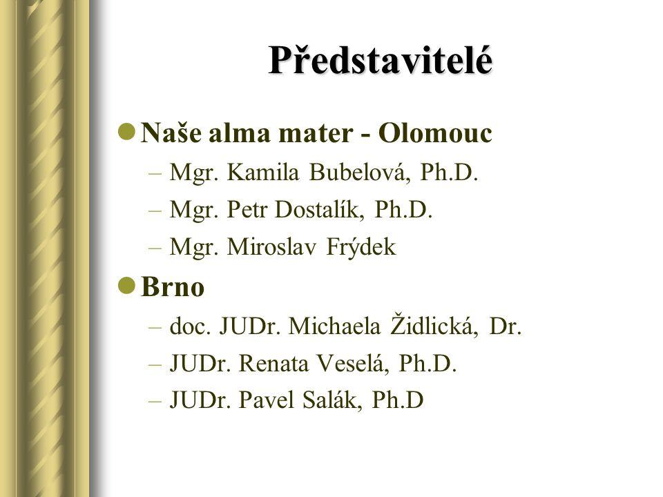 Představitelé Naše alma mater - Olomouc –Mgr. Kamila Bubelová, Ph.D. –Mgr. Petr Dostalík, Ph.D. –Mgr. Miroslav Frýdek Brno –doc. JUDr. Michaela Židlic