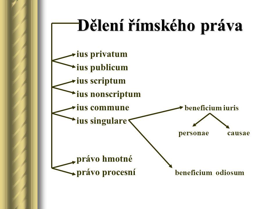 Dělení římského práva ius privatum ius publicum ius scriptum ius nonscriptum ius commune beneficium iuris ius singulare personae causae právo hmotné právo procesní beneficium odiosum