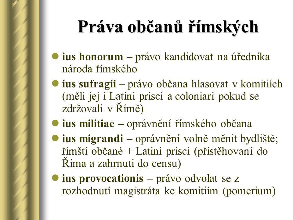Práva občanů římských ius honorum – právo kandidovat na úředníka národa římského ius sufragii – právo občana hlasovat v komitiích (měli jej i Latini prisci a coloniari pokud se zdržovali v Římě) ius militiae – oprávnění římského občana ius migrandi – oprávnění volně měnit bydliště; římští občané + Latini prisci (přistěhovaní do Říma a zahrnuti do censu) ius provocationis – právo odvolat se z rozhodnutí magistráta ke komitiím (pomerium)