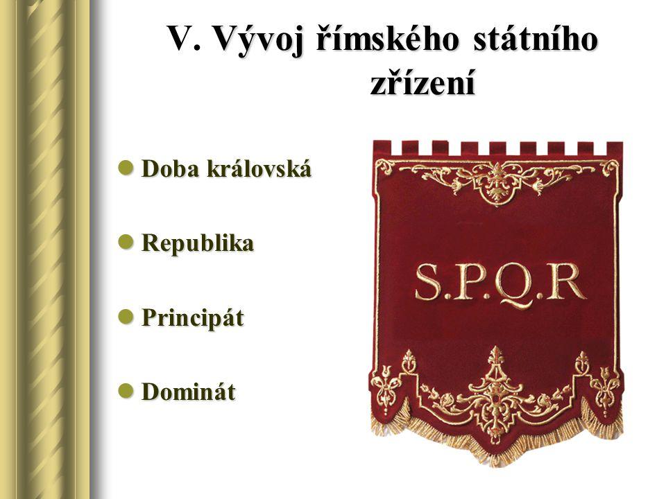 Vývoj římského státního zřízení V. Vývoj římského státního zřízení Doba královská Doba královská Republika Republika Principát Principát Dominát Domin