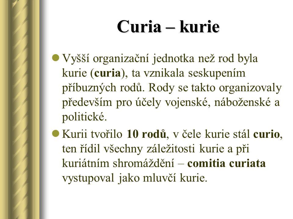 Curia – kurie Vyšší organizační jednotka než rod byla kurie (curia), ta vznikala seskupením příbuzných rodů.