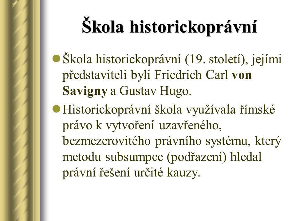 Škola historickoprávní Škola historickoprávní (19. století), jejími představiteli byli Friedrich Carl von Savigny a Gustav Hugo. Historickoprávní škol