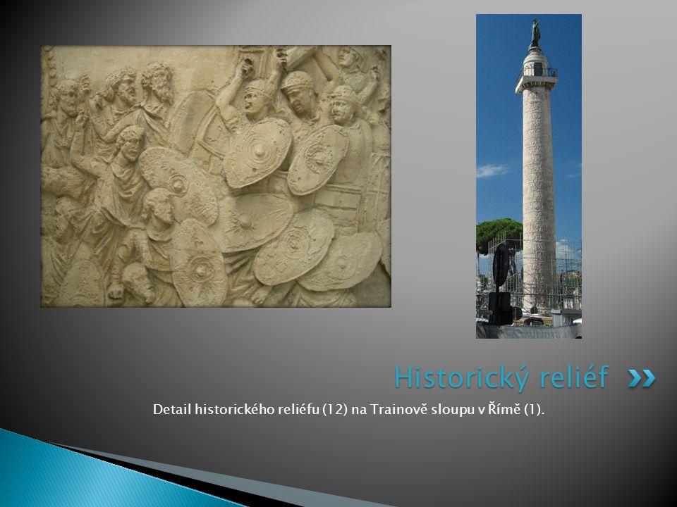 Detail historického reliéfu (12) na Trainově sloupu v Římě (1). Historický reliéf