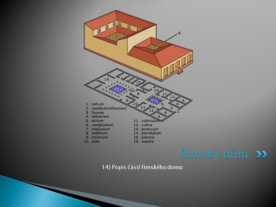 14) Popis částí římského domu Římský dům