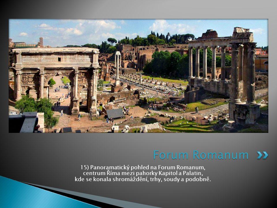 15) Panoramatický pohled na Forum Romanum, centrum Říma mezi pahorky Kapitol a Palatin, kde se konala shromáždění, trhy, soudy a podobně. Forum Romanu