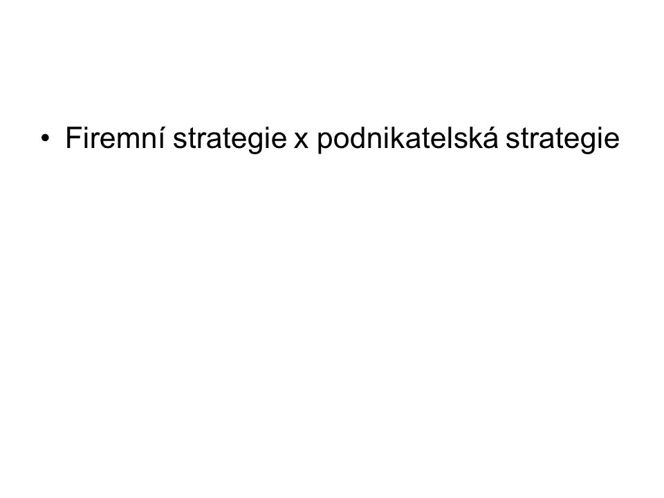 Firemní strategie x podnikatelská strategie