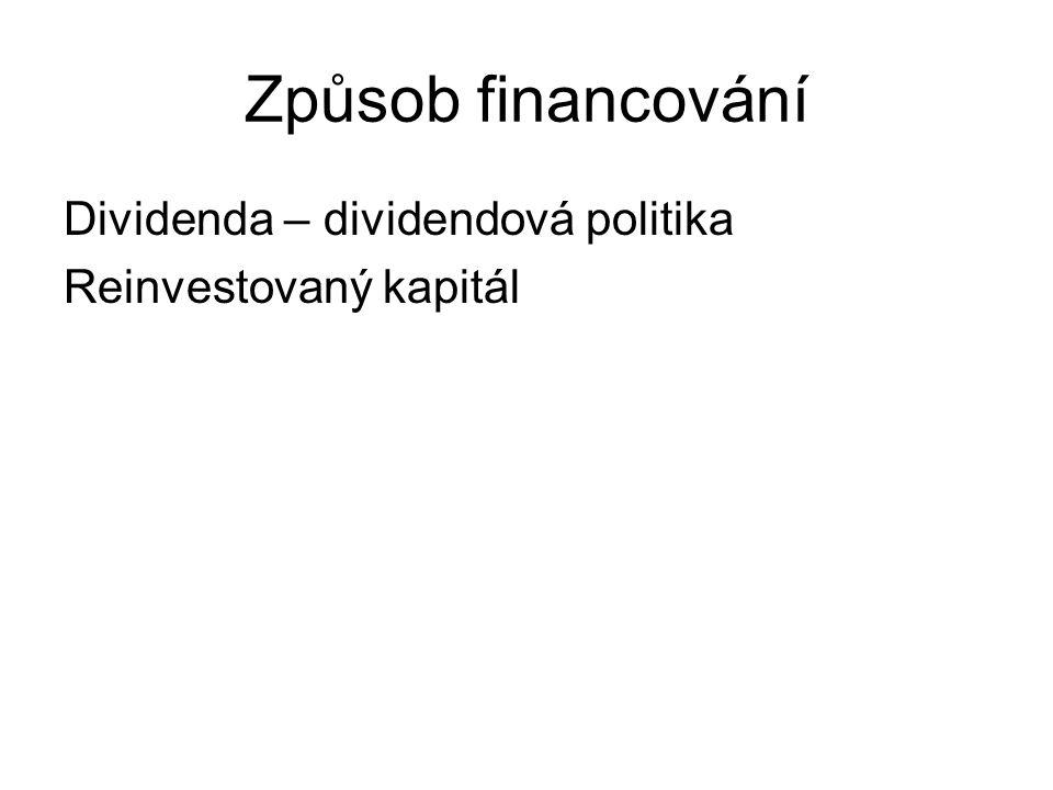 Způsob financování Dividenda – dividendová politika Reinvestovaný kapitál