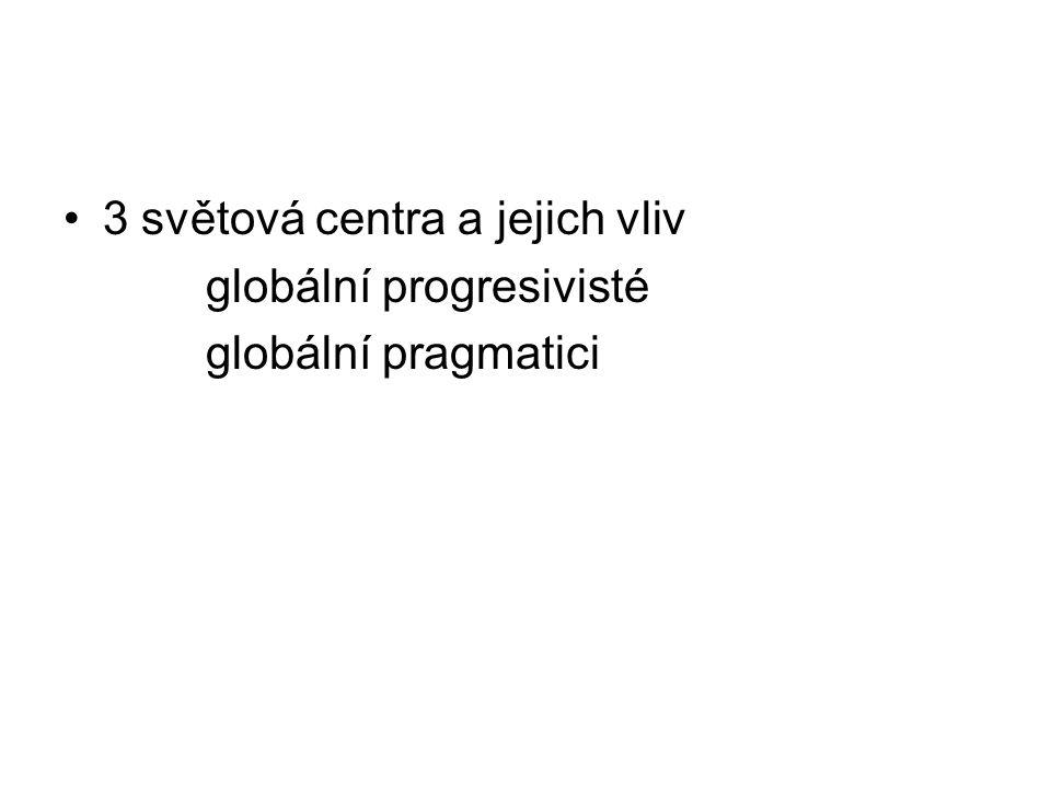 3 světová centra a jejich vliv globální progresivisté globální pragmatici