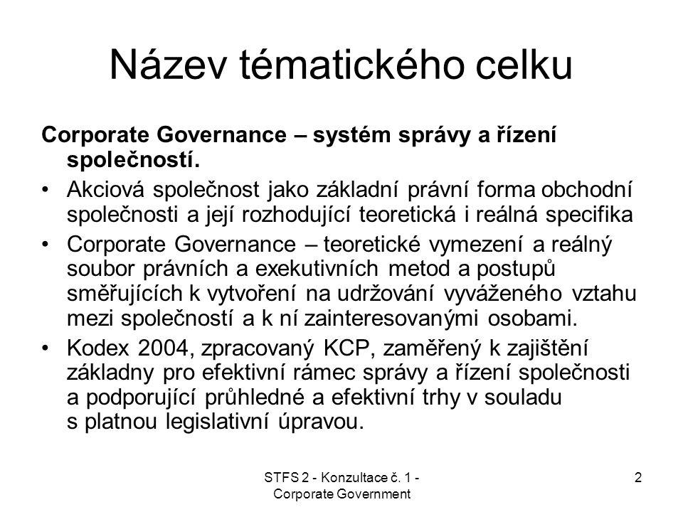 STFS 2 - Konzultace č. 1 - Corporate Government 2 Název tématického celku Corporate Governance – systém správy a řízení společností. Akciová společnos