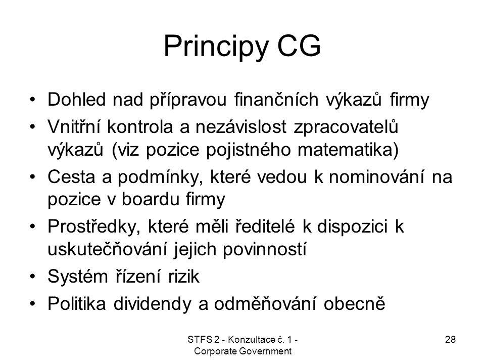 STFS 2 - Konzultace č. 1 - Corporate Government 28 Principy CG Dohled nad přípravou finančních výkazů firmy Vnitřní kontrola a nezávislost zpracovatel