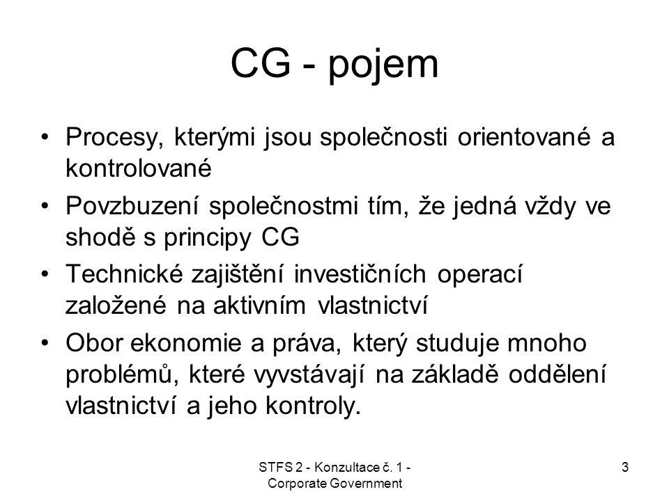 STFS 2 - Konzultace č.1 - Corporate Government 24 Principy CG  2.