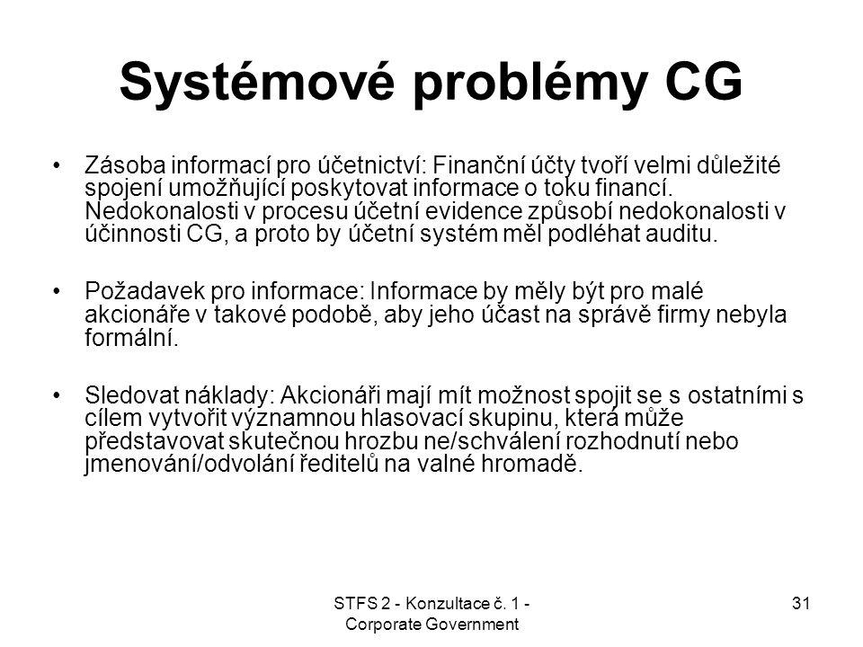 STFS 2 - Konzultace č. 1 - Corporate Government 31 Systémové problémy CG Zásoba informací pro účetnictví: Finanční účty tvoří velmi důležité spojení u
