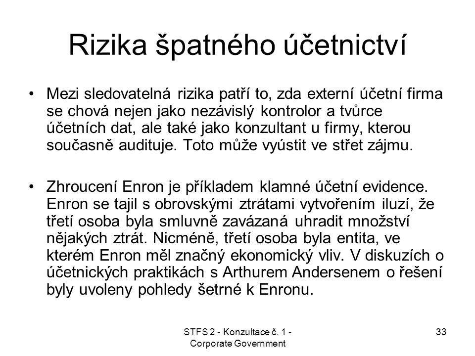 STFS 2 - Konzultace č. 1 - Corporate Government 33 Rizika špatného účetnictví Mezi sledovatelná rizika patří to, zda externí účetní firma se chová nej