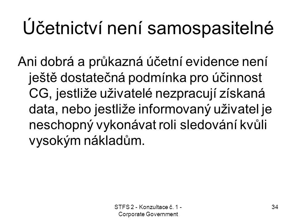 STFS 2 - Konzultace č. 1 - Corporate Government 34 Účetnictví není samospasitelné Ani dobrá a průkazná účetní evidence není ještě dostatečná podmínka