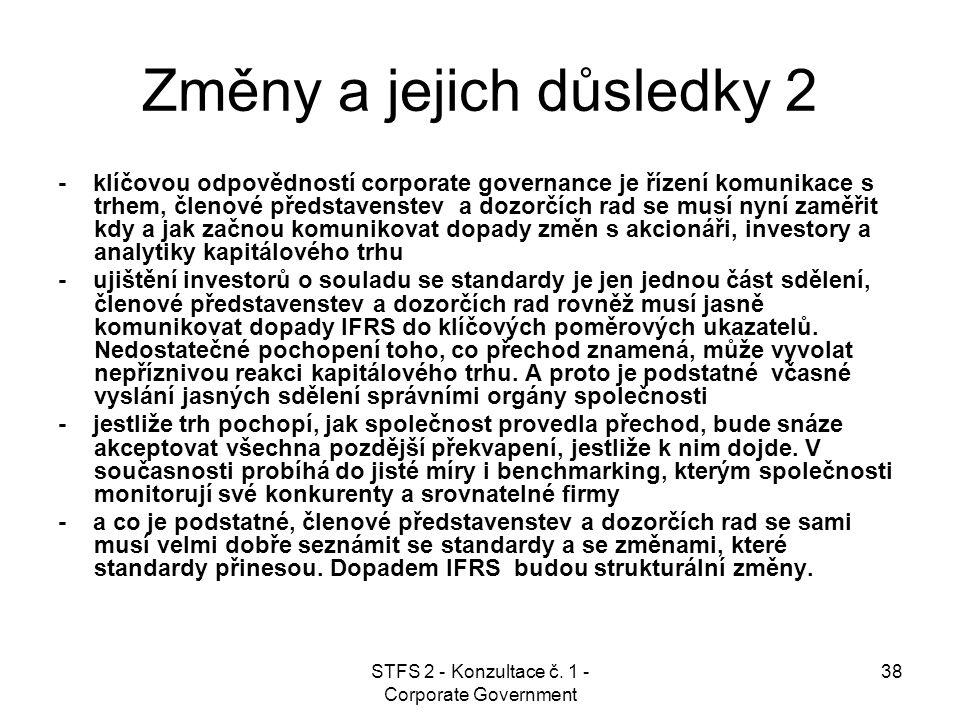 STFS 2 - Konzultace č. 1 - Corporate Government 38 Změny a jejich důsledky 2 - klíčovou odpovědností corporate governance je řízení komunikace s trhem