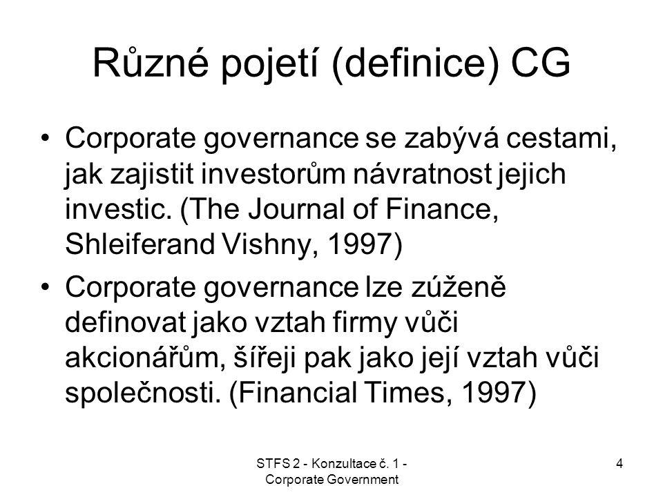 STFS 2 - Konzultace č. 1 - Corporate Government 4 Různé pojetí (definice) CG Corporate governance se zabývá cestami, jak zajistit investorům návratnos