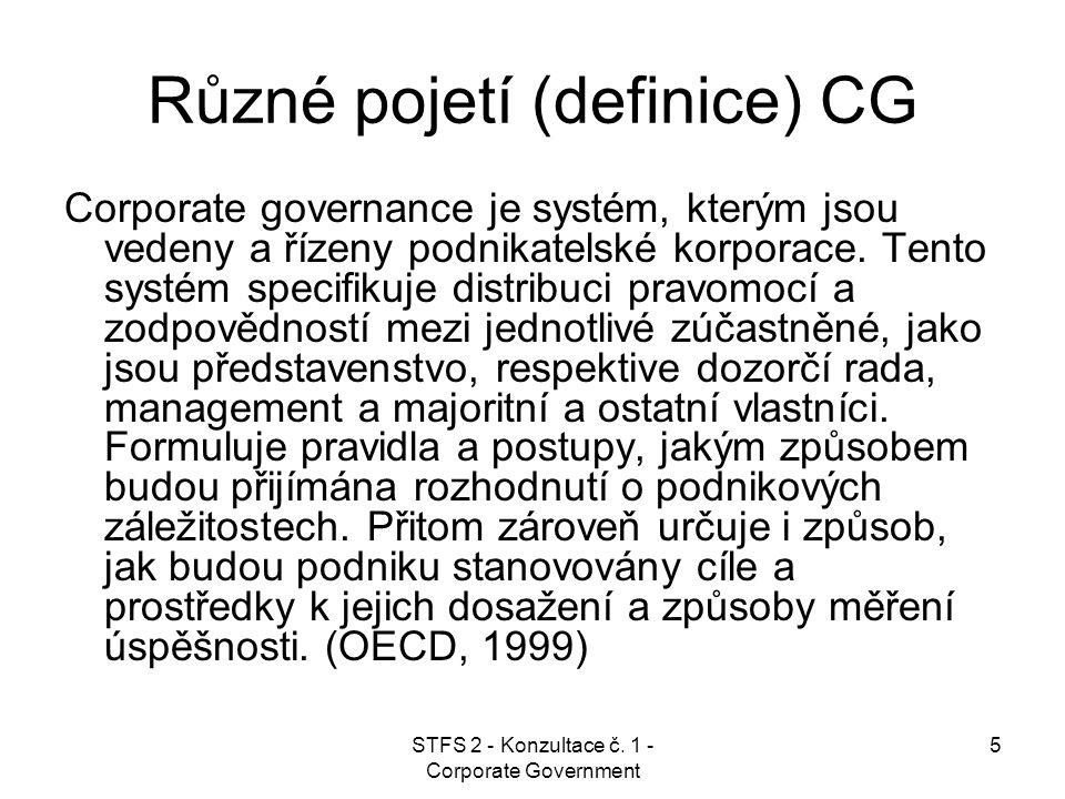 STFS 2 - Konzultace č. 1 - Corporate Government 5 Různé pojetí (definice) CG Corporate governance je systém, kterým jsou vedeny a řízeny podnikatelské