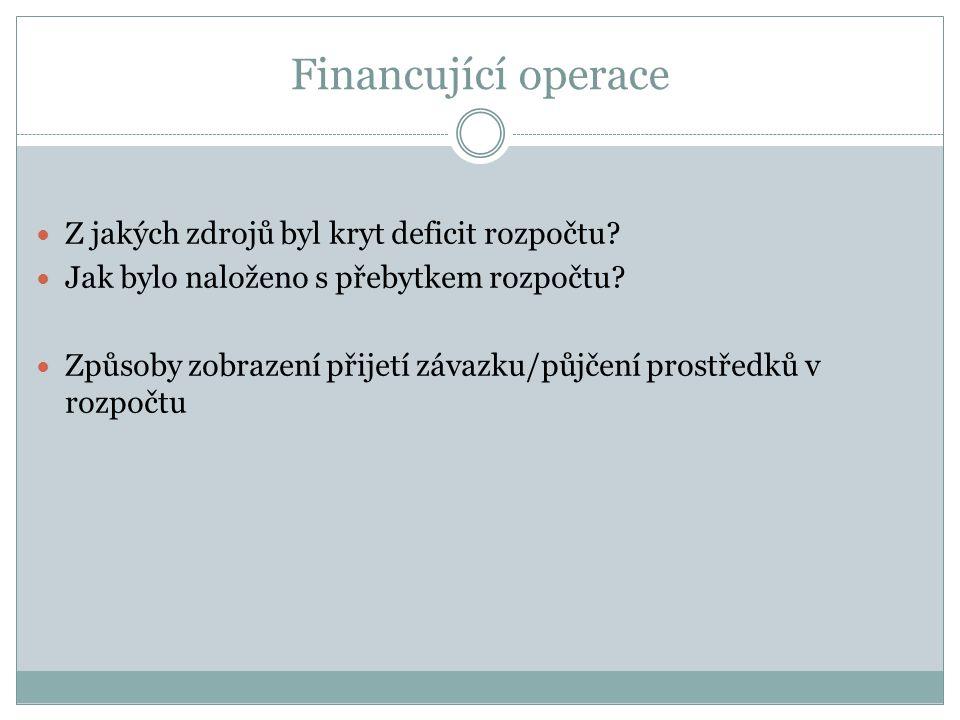 Financující operace Z jakých zdrojů byl kryt deficit rozpočtu? Jak bylo naloženo s přebytkem rozpočtu? Způsoby zobrazení přijetí závazku/půjčení prost