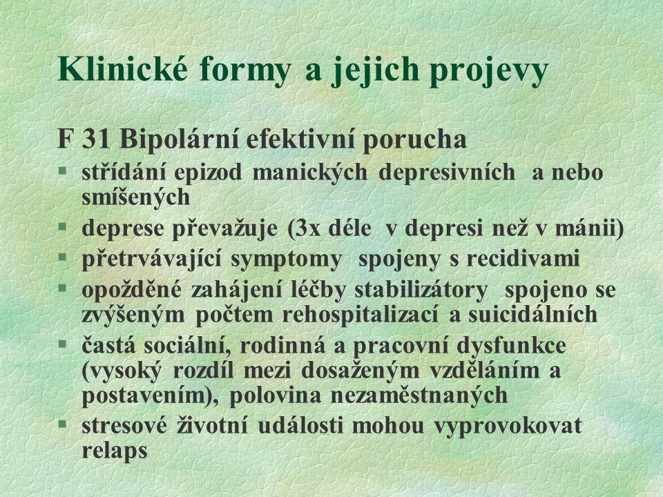 Klinické formy a jejich projevy Depresivní porucha §jedna episoda - depresivní epizoda §epizody se opakují – rekurentní depresivní porucha (riziko rekurence zhruba 50%) §současná epizoda mírná, středně těžká, těžká nebo s psychotickými rysy, v remisi, bez nebo se somatickým syndromem §somatický syndrom ( odpovídající endogenní depresi v předchozí klasifikaci) : 1.