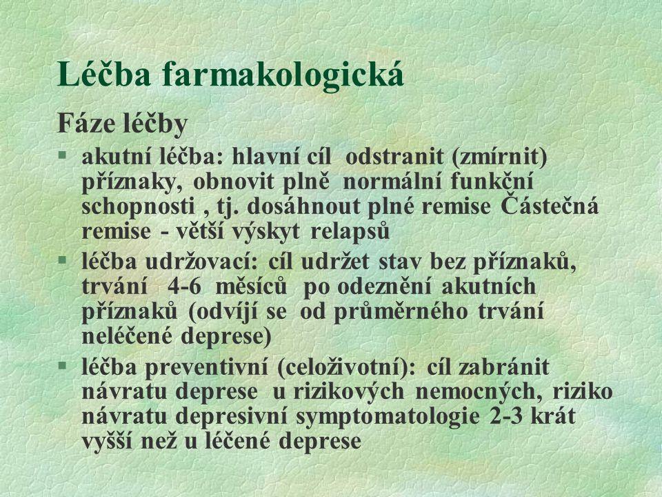 Léčba farmakologická Fáze léčby §akutní léčba: hlavní cíl odstranit (zmírnit) příznaky, obnovit plně normální funkční schopnosti, tj. dosáhnout plné r