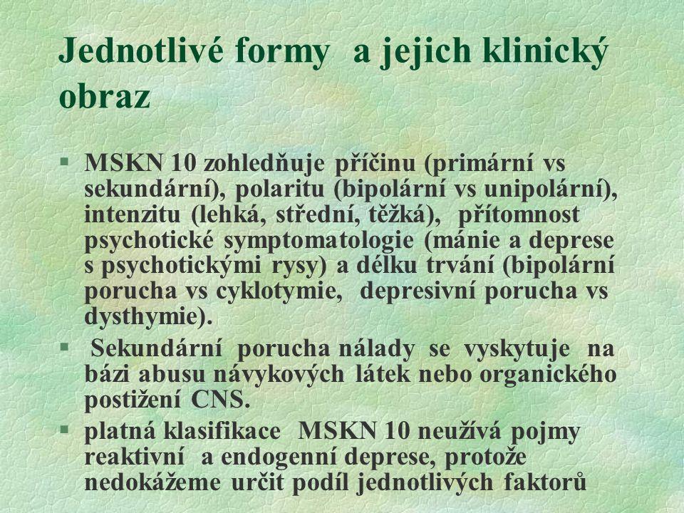 Jednotlivé formy a jejich klinický obraz §MSKN 10 zohledňuje příčinu (primární vs sekundární), polaritu (bipolární vs unipolární), intenzitu (lehká, s