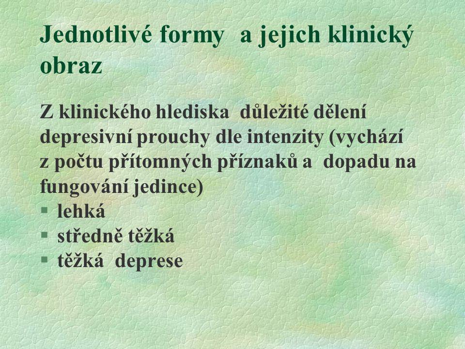 Klinické formy a jejich projevy §F30 manická epizoda §F31 bipolární afektivní porucha §F32 depresivní porucha §F33 rekurentní depresivní porucha §F34 trvalé poruchy nálady