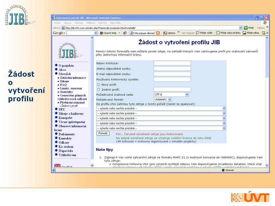 Jak službu aktivovat Na základě vyplněné žádosti pro vás připravíme profil, který poté zadáte jako databázi Z39.50 serveru JIB, jehož prostřednictvím budete záznamy přebírat S nastavením Z39.50 serveru JIB ve vašem AKS vám rád poradí váš dodavatel