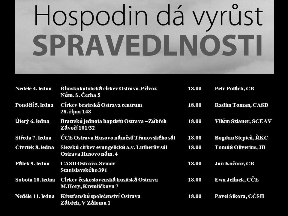 Neděle 4. ledna Ř í mskokatolick á c í rkev Ostrava-Př í voz N á m.
