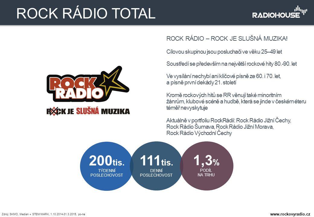 ROCK RÁDIO – ROCK JE SLUŠNÁ MUZIKA! Cílovou skupinou jsou posluchači ve věku 25–49 let Soustředí se především na největší rockové hity 80.-90. let Ve