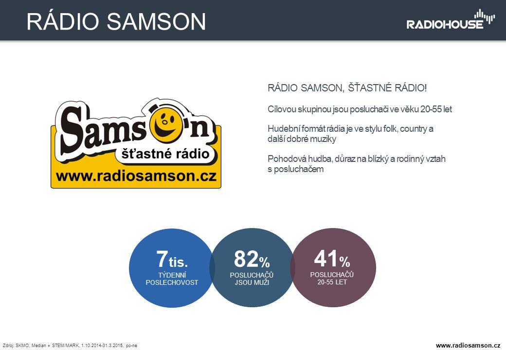 RÁDIO SAMSON, ŠŤASTNÉ RÁDIO! Cílovou skupinou jsou posluchači ve věku 20-55 let Hudební formát rádia je ve stylu folk, country a další dobré muziky Po