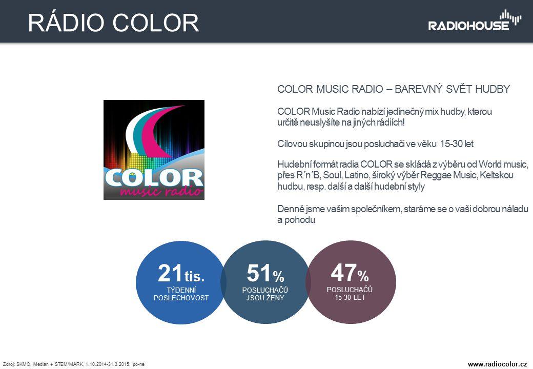 COLOR MUSIC RADIO – BAREVNÝ SVĚT HUDBY COLOR Music Radio nabízí jedinečný mix hudby, kterou určitě neuslyšíte na jiných rádiích! Cílovou skupinou jsou