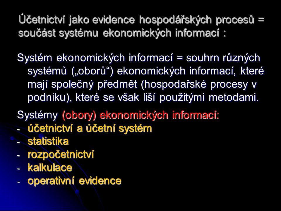 """Účetnictví jako evidence hospodářských procesů = součást systému ekonomických informací : Systém ekonomických informací = souhrn různých systémů (""""obo"""