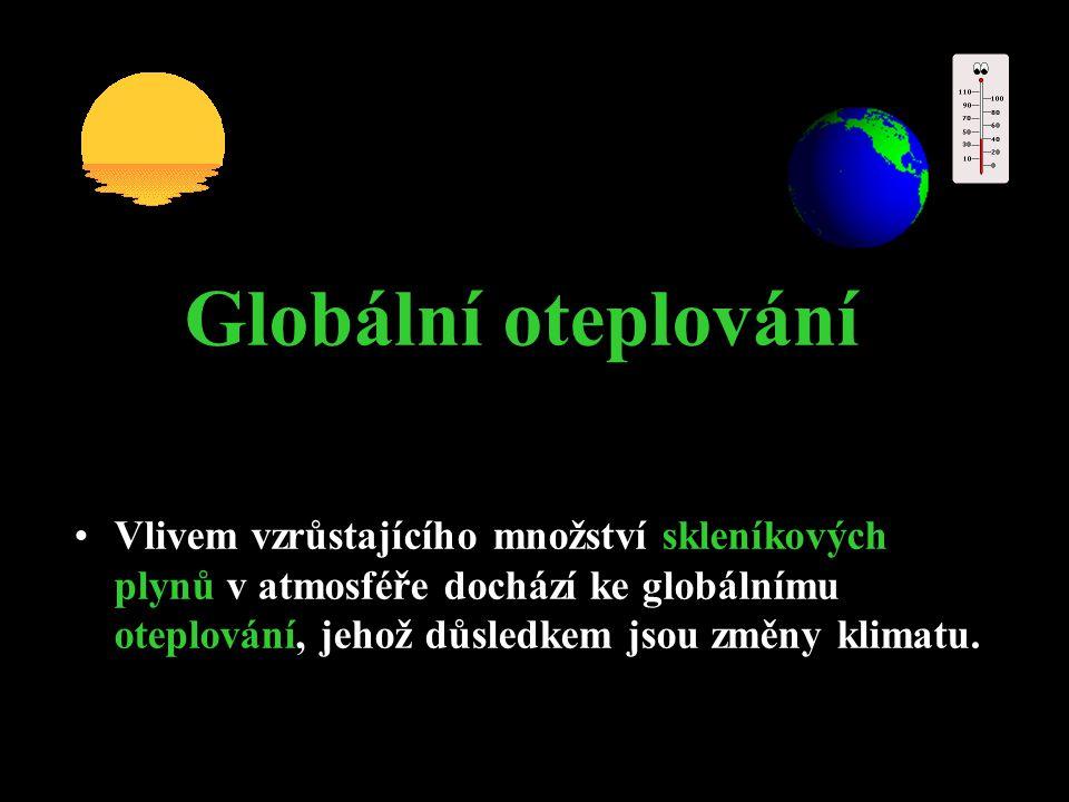 Pojmy:  skleníkové plyny = skleníkové plyny jsou plyny, vyskytující se v atmosféře Země, absorbující dlouhovlnné záření, díky čemuž je ohřívána spodní vrstva atmosféry a zemský povrch.
