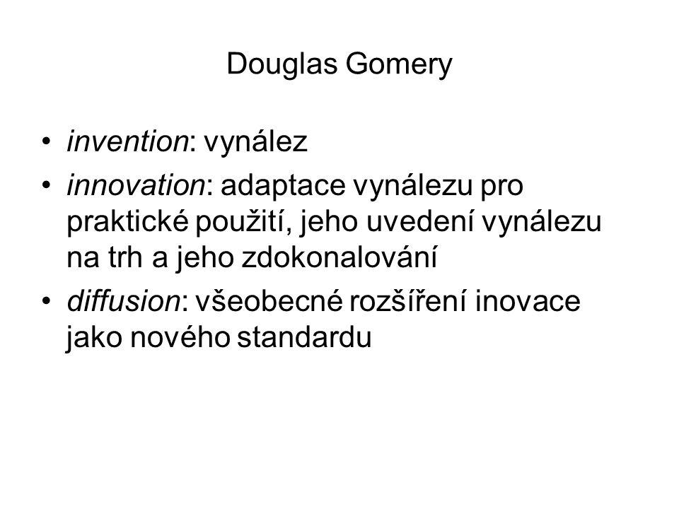 Douglas Gomery invention: vynález innovation: adaptace vynálezu pro praktické použití, jeho uvedení vynálezu na trh a jeho zdokonalování diffusion: vš