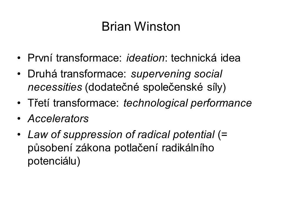 Brian Winston První transformace: ideation: technická idea Druhá transformace: supervening social necessities (dodatečné společenské síly) Třetí trans
