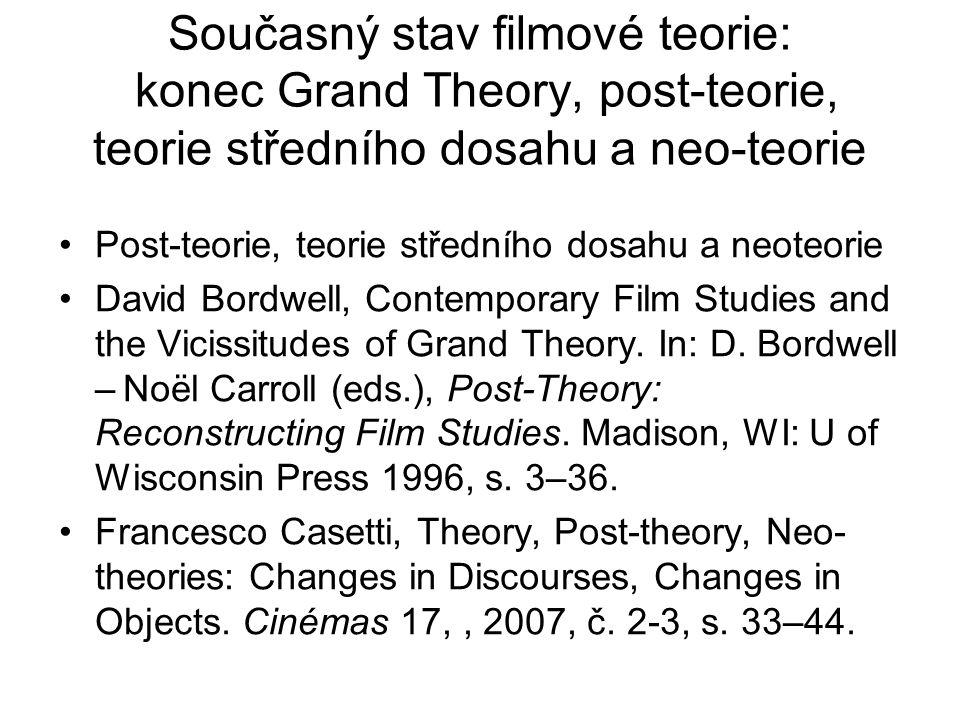 Současný stav filmové teorie: konec Grand Theory, post-teorie, teorie středního dosahu a neo-teorie Post-teorie, teorie středního dosahu a neoteorie D
