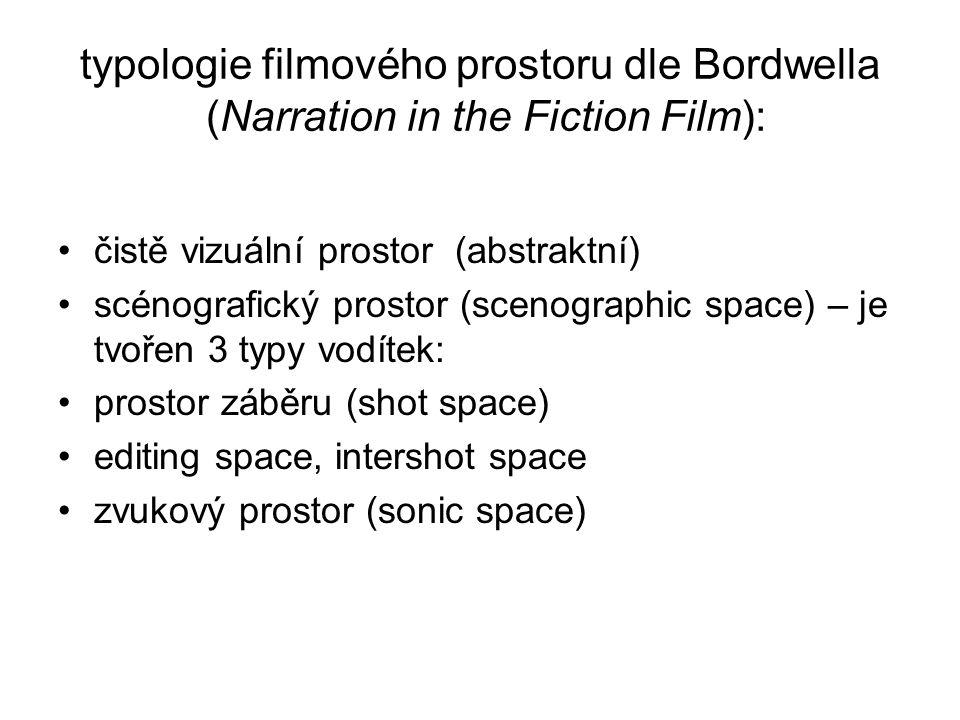 typologie filmového prostoru dle Bordwella (Narration in the Fiction Film): čistě vizuální prostor (abstraktní) scénografický prostor (scenographic sp