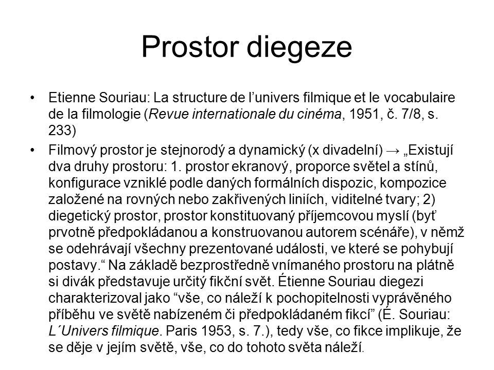Prostor diegeze Etienne Souriau: La structure de l'univers filmique et le vocabulaire de la filmologie (Revue internationale du cinéma, 1951, č. 7/8,