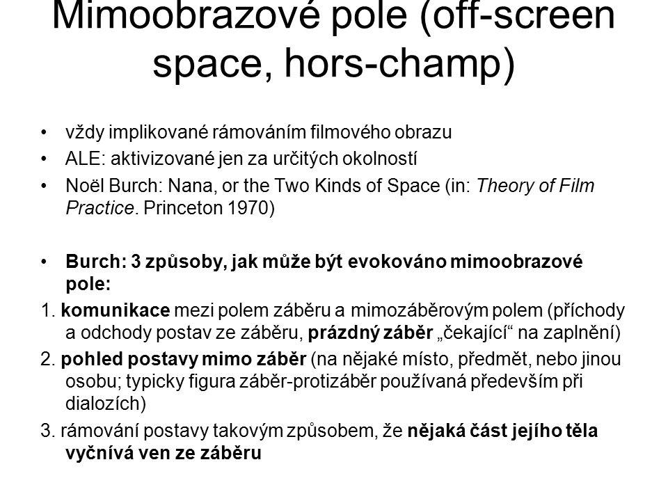 Mimoobrazové pole (off-screen space, hors-champ) vždy implikované rámováním filmového obrazu ALE: aktivizované jen za určitých okolností Noël Burch: N